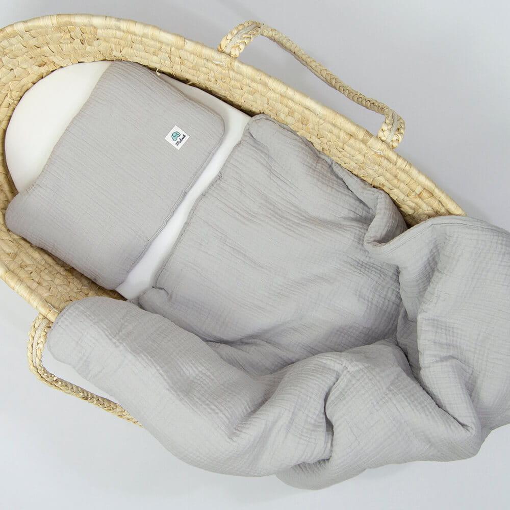 Image of Komplet pościeli muślinowej GOTS kołderka 60x70 z poduszką płaską kolor szary