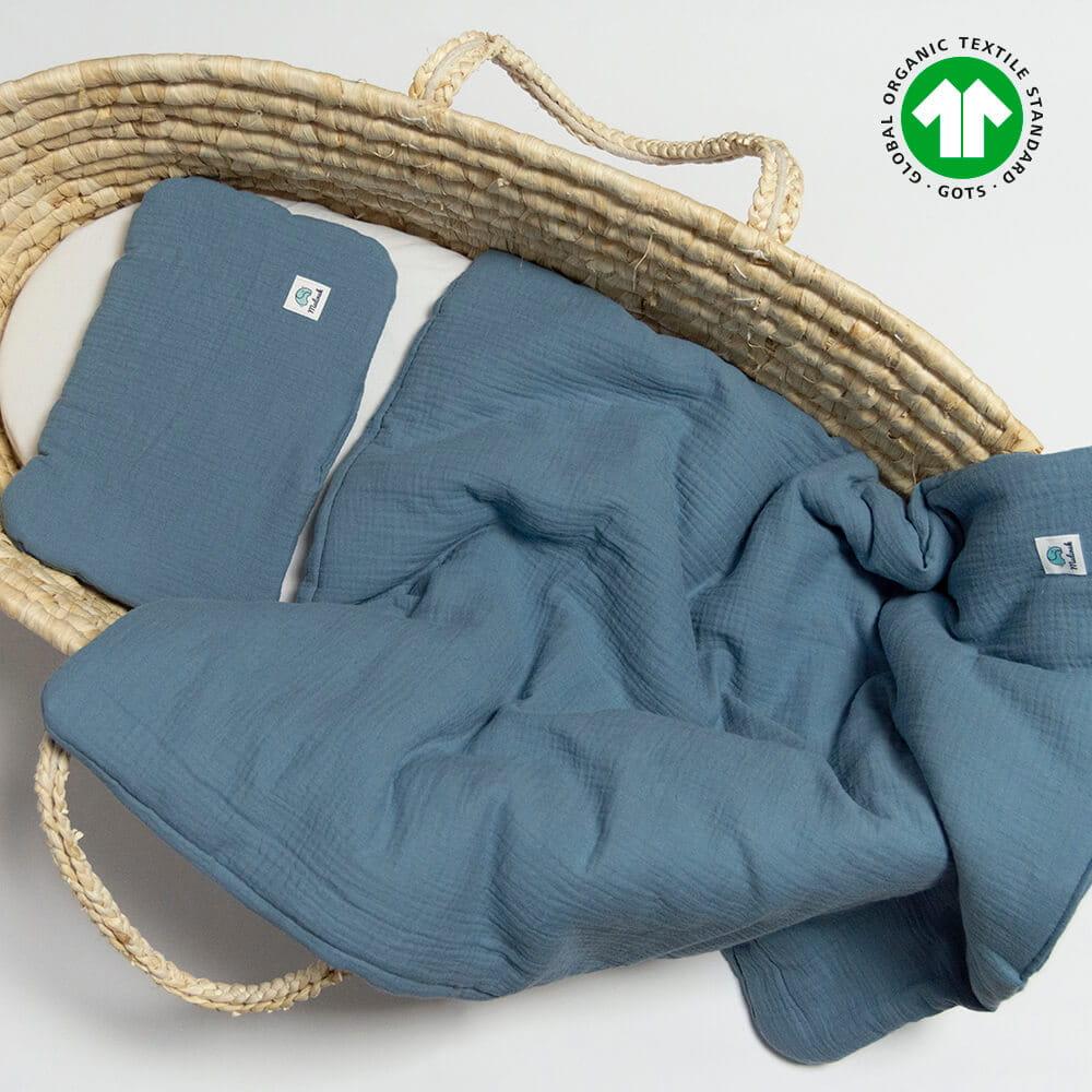 Muślinowa pościel z wypełnieniem niemowlęca GOTS 60x70 jeans