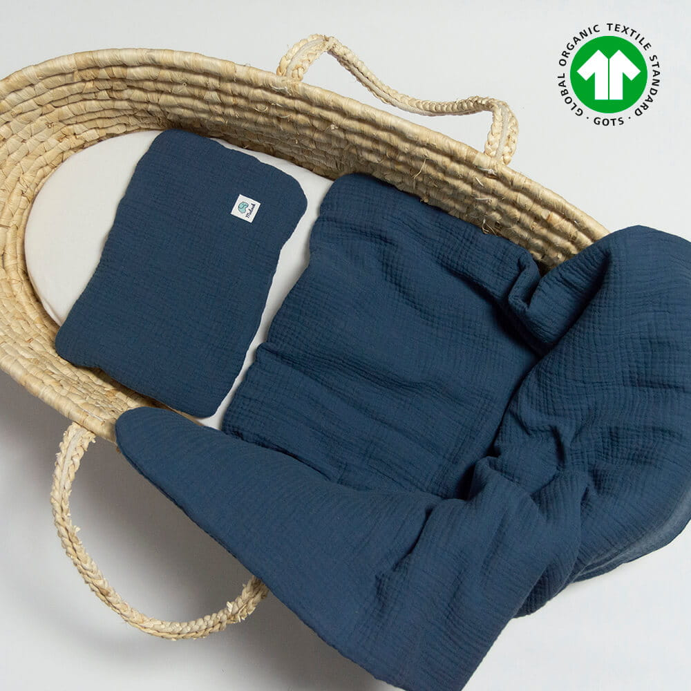 Image of Komplet pościeli muślinowej z bawełny ekologicznej 60x70 granatowy