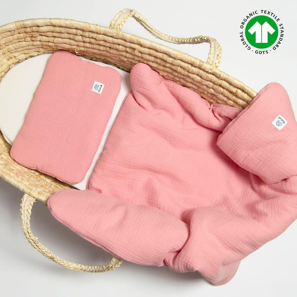 Image of Komplet pościeli niemowlęcej muślinowej z bawełny ekologicznej 60x70 różowy