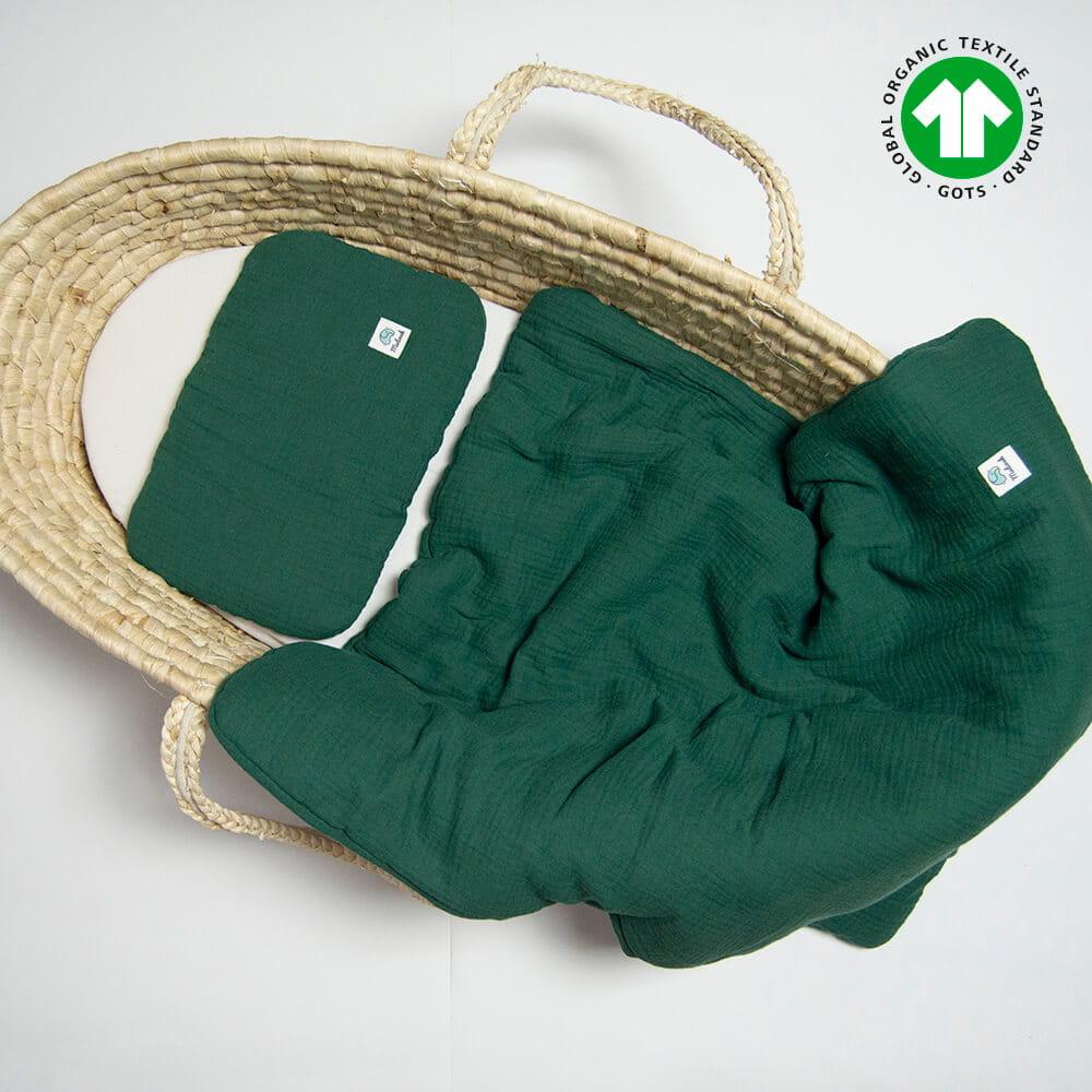 Muślinowa pościel niemowlęca komplet 100% bawełna organiczna 60x70 butelkowa zieleń