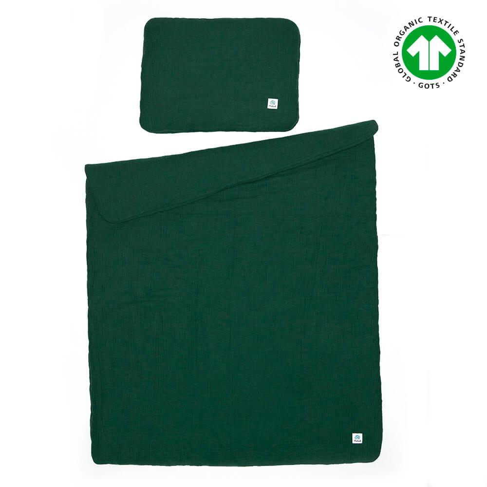 Muślinowa pościel do łóżeczka 75x100 GOTS kolor butelkowa zieleń